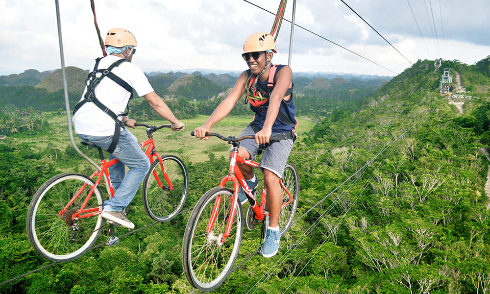 Bike Zipline Carmen, Bohol Island, Philippines
