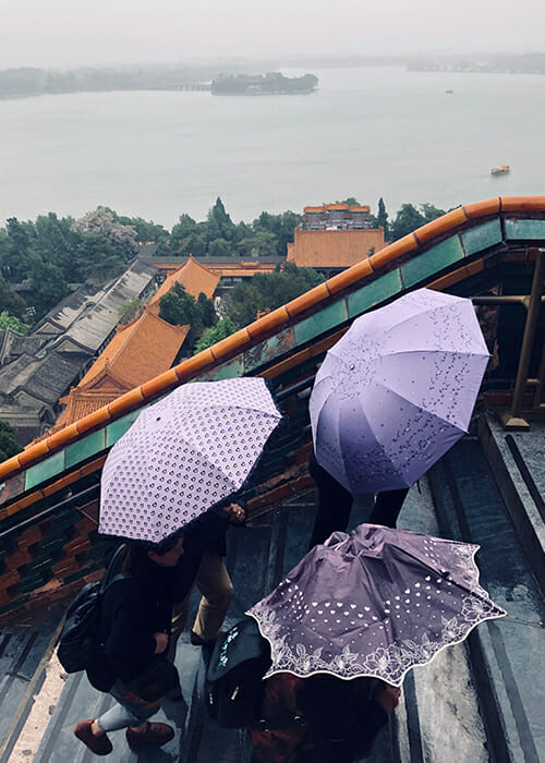 Exploring the summer palace China in the rain