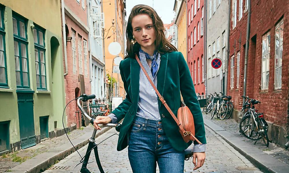J Crew Copenhagen collection green velvet blazer