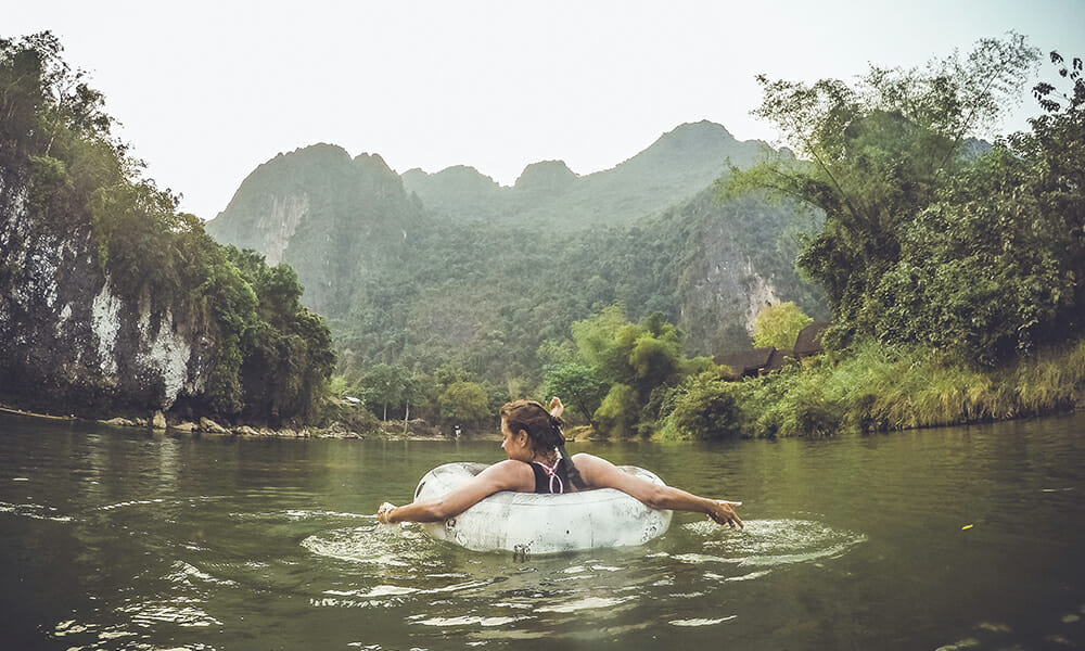 River floating in Laos
