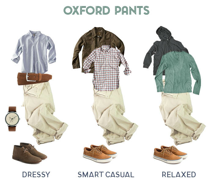 Three ways to wear oxford pants