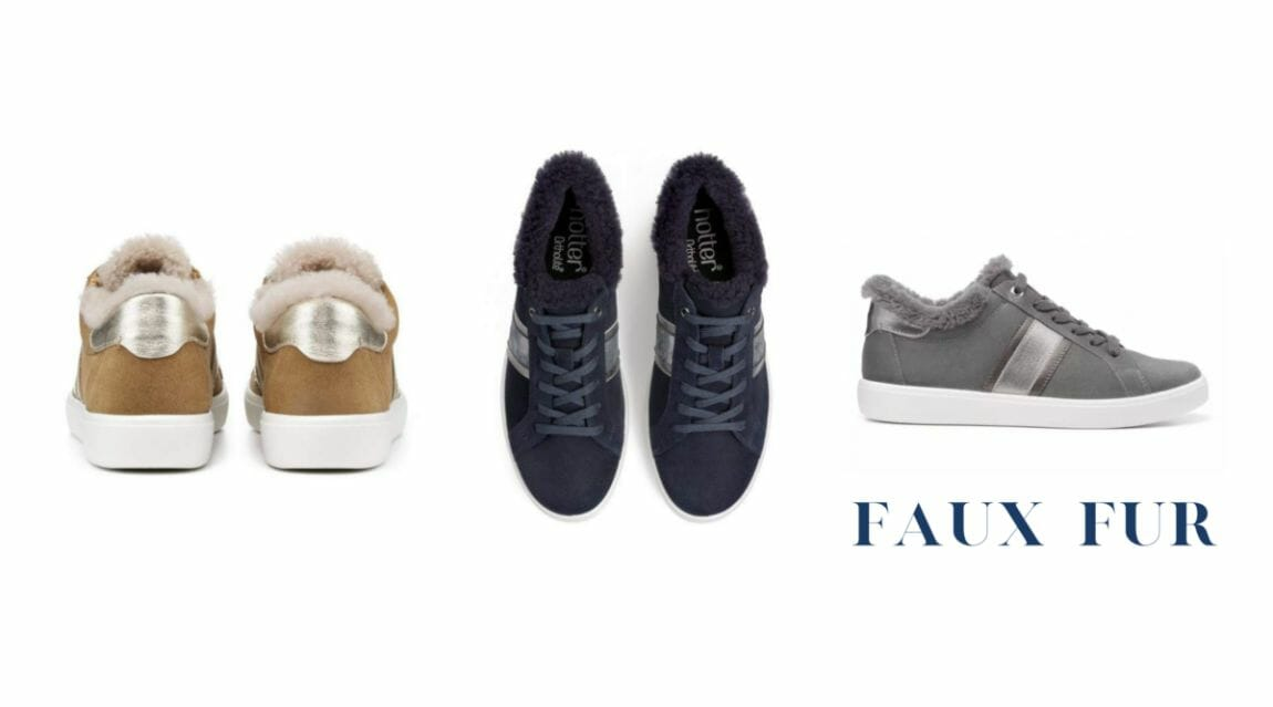 sneakers with faux fur trimming