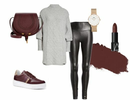 How to style burgundy sneakers, statement sneakers