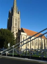 Marlow Church, across the suspension bridge