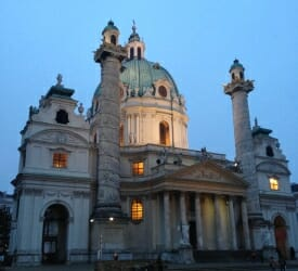 Karlskirche church at night