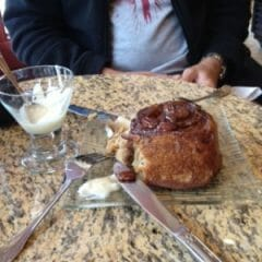 Cinnamon bun at C.G. Higgins coffee shop