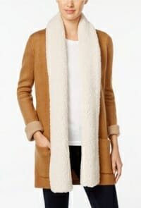 Style & Co. Faux-Sherpa-Collar Coatigan by Macy's