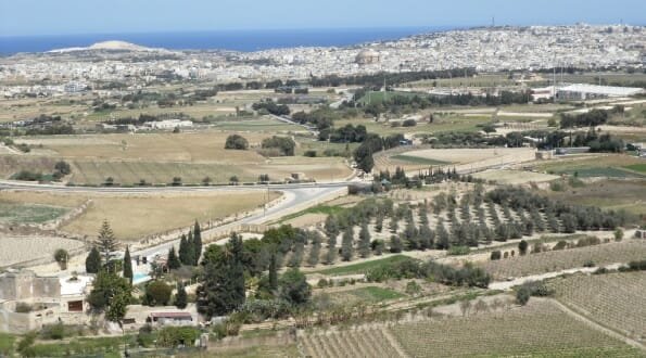 View of the Maltese countryside from Mdina