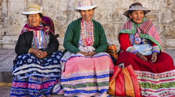 Peruvian ladies in traditional dress