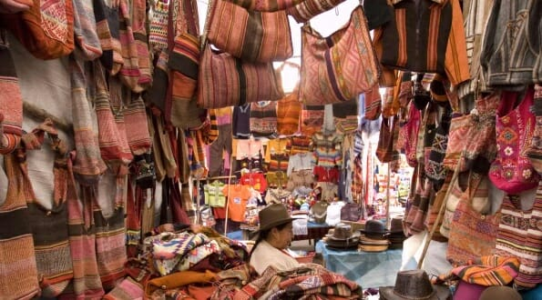 Peruvian stall selling handmade bags and hats