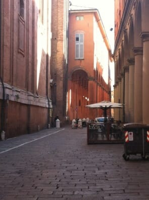 Bologna streets with Medieval architecture