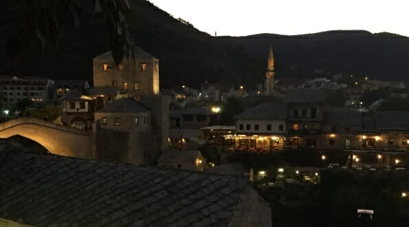 View over mostar at night