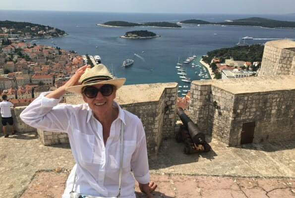 Helen at Hvar Castle, Croatian sailing trip
