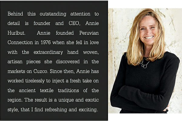 Peruvian Connection Founder Annie Hurlbut